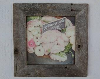 Paris Ranunculus Canvas Print, optional barn wood Frame 8x8, farmhouse decor, france photography, floral photography