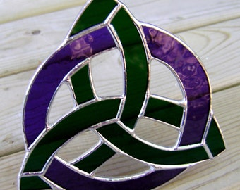 Celtic Trinity Knot Stained Glass Triquetra Trinity Irish Flag Purple Emerald Green Scottish Mother Pagan Wiccan Yule Halloween Gothic Glass