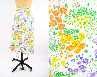 """1960s skirt 60s vintage floral colorful summer wrap skirt XXS W 23"""""""