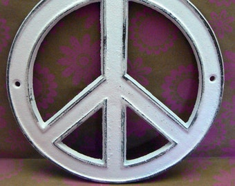 Peace Sign Cast Iron Wall Art Shabby Chic White Retro 70's Home Decor Wall Art