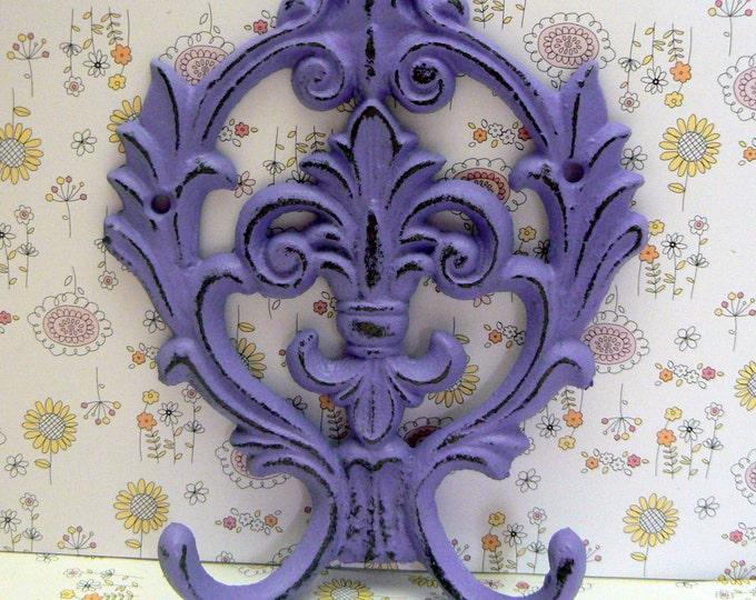 Fleur de lis Cast Iron Lavender Lilac Purple Double Hook Ornate French FDL Decor Paris Shabby Elegance Leash Jewelry Cap Bathroom Hooks