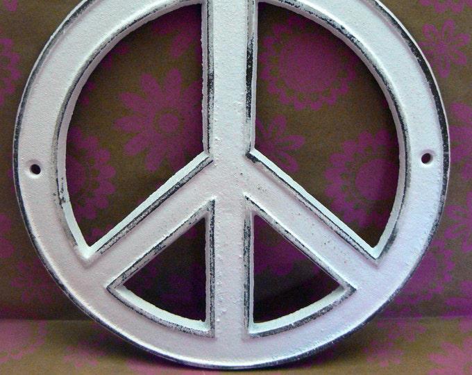Peace Sign Cast Iron Wall Art Shabby Chic White Retro 70's Home Decor Wall Art