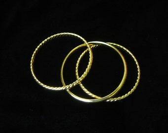 Vintage - Set of Three 14k Gold Over Bronze Bangles