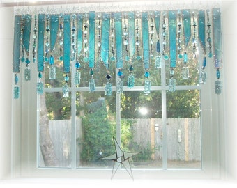 Aqua Delight Stained Glass Window Treatment Kitchen Valance Curtain