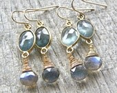 Moss Aquamarine and Labradorite Gold Earrings