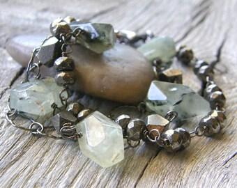 Green Prehnite, Pyrite and Sterling Silver Chain Layered Bracelet, Chunky Bold Multi-Strand Bracelet
