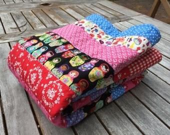 New Baby Toddler Crib Matryoshka Quilt Blanket