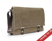 "Messenger bag for 13"" MacBook Air with leather strap - light brown herringbone"