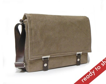 """Messenger bag for 13"""" MacBook Air with leather strap - light brown herringbone"""