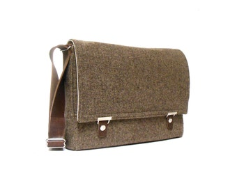 "13"" / 15"" MacBook Pro Retina messenger bag - brown tweed"