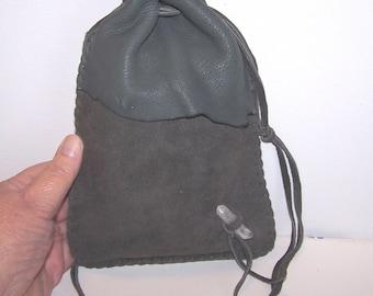 "Drawstring Leather Medicine Bag..Tarot / Ogham Staves..6""x 8"".. GREY"
