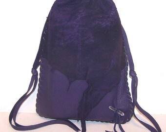 "Drawstring Leather Medicine Bag..Tarot / Ogham Staves..6""x 8"".. PURPLE"