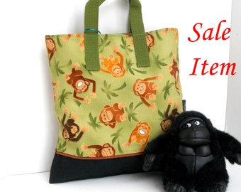 Monkey Tote / Kindergarten Tote / Book Bag / Overnight / Travel /Toy Storage / SALE / REDUCED