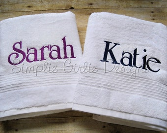 Personalized bath towel. Custom. Choose towel and thread color.
