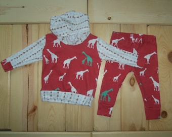 Sized 6-9 months Baby Boy Hoodie and Leggings Outfit with Giraffe Family on Coral