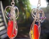 Sea Glass Red Earrings