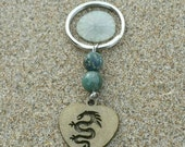 ON SALE Moss Agate Keychain, Bronze Dragon, Gemstone Keychains, Key Fob