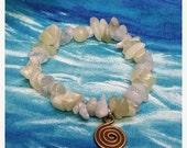 ON SALE Aquamarine Bracelet, Serpentine Bracelet, Spiral Bracelet, Moonstone Bracelet