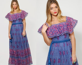Vintage 70s INDIA COTTON Maxi Dress Blue & Pink ETHNIC Floral Print Boho Maxi Dress Ruffle Belted Hippie Dress