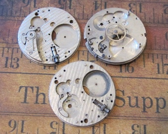 Vintage pocket Watch movement parts - Pocket watch plates Steampunk - Scrapbooking q5