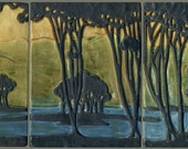 Arts & Crafts style Landscape Art Tiles with Moon, Stream, Trees, and Mountains - 3 Tile Set