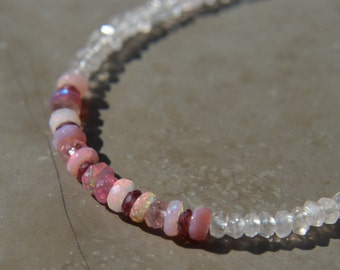 Ethiopian Opal Bracelet with Rose Quartz and Rhodolite Garnet