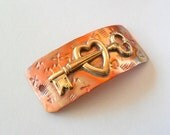 Artisan Key to the Heart Copper and Brass Bracelet Link Finding