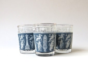 Mid Century vintage Hellenic Blue Shot Glasses / Jeanette Glass / Mid Century Barware / Set of 4