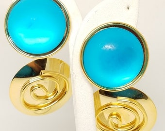 HUGE Earrings Clip On Turquoise Color and Gold Tone