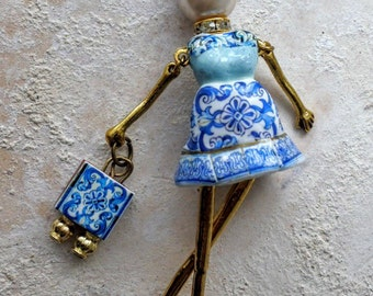 Portugal The GIRL from AVEIRO Doll Necklace with Azulejo tiles from Santa Joana Convent 1458 -