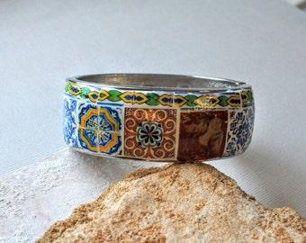 Portugal 10 Antique Azulejo Tile Replica BRACELET - Bangle Majolica Mosaic History  OOAK