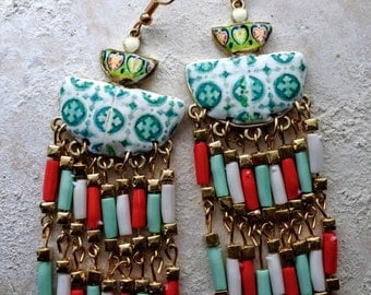 Portugal Antique Azulejo Tile Replica FRINGE Earrings, Lisbon Colors Bohemian Gypsy Eclectic Persian Bollywood