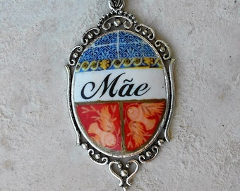 Portugal Antique DOVE FReSCO  Mãe Mother's Day Necklace with Chapel Frescoes - National Palace Sintra  Doves- Peace  History Portuguese