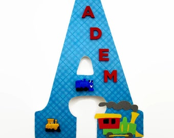 Train Wood Letter - Train Nursery Letters - Boys Nursery Decor - Boys Wall Decor - Name Wall Art - Boys Train Bedroom - Personalized