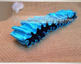 The Original Fully Reversible Bridal Garter..You Choose The Colors..shown in turquoise/black