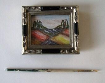 Original acrylic Landscape painting, Miniature framed art canvas, fields, trees, green and orange, shabby flea market frame, gift idea