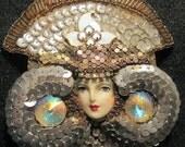 Winter SALE - Vintage Flapper Rhinestone Applique Ornament Art Deco