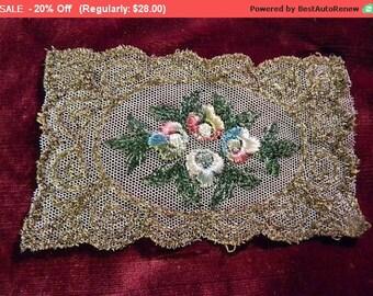 On SALE - Antique Applique Metallic Edwardian Silk Embroidered Lace Rosettes