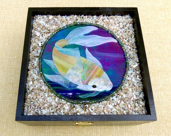 Stained Glass Koi Fish Jewelry Trinket Box