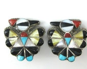 Reserved for Poodle - Clip on Earrings, Thunder Bird, Sterling Silver, Zuni, Multi Stone, Inlaid Stone, Turquoise, Black Onyx, MOP