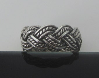 Size 9 1/2 Vintage Sterling Silver Twisted Rope & Wire Ring