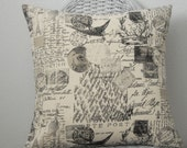 Pillow Cover Decorative Pillow Cover in Black and Natural French Script and Stamp Home Decor Fabric Invisible Zipper 5 Sizes Available