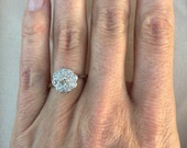 Flash Sale Victorian Old Mine Cut .59 Carat Diamond Halo Flower Ring