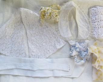 Vintage Lace Collar and Trim Lot/Lace Remnants Ric Rac Crochet Trim/Alencon Lace Collar