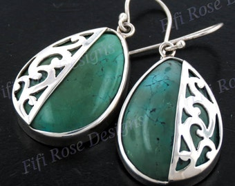 "1"" Genuine Turquoise Pear 925 Sterling Silver Earrings"