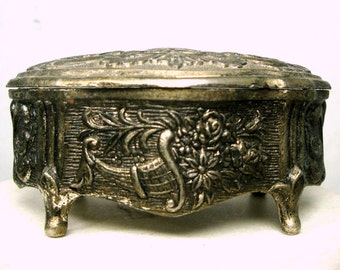 Tiny Rococco Hinged Metal Box, Ornate Silvertone Jewelry Box, 1960s  Shabby Vintage Dresser Box, Red Lining, Footed Box