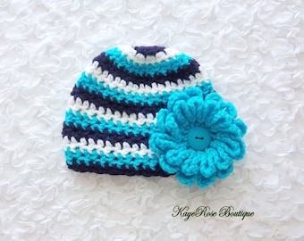 Newborn to 3 Month Old Baby Girl Crochet Flower Hat Purple White and Turquoie Stripes