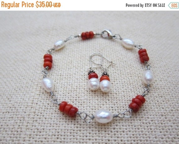 ON SALE Red Coral and Pearl Set