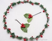 Holiday Hair Bobby Pins, Christmas Holly Leaf and Red Berry Bobby Pin Hair Accessories