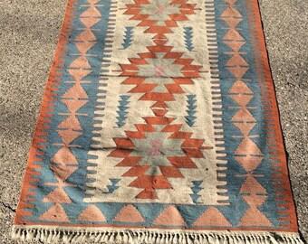 Antique Turkish Kilim Hand Woven Wool Rug 4x6 feet